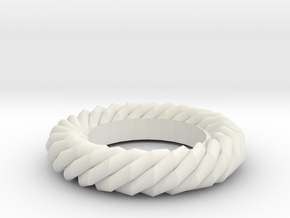 Twist ring gold in White Natural Versatile Plastic