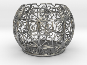 Tealight Holder Tiled Orb Indigo in Natural Silver