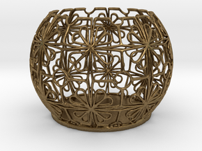 Tealight Holder Tiled Orb Indigo in Natural Bronze