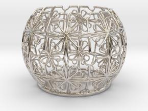 Tealight Holder Tiled Orb Indigo in Platinum