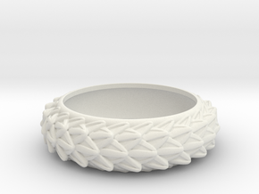 Dragon Scales Band, size 10 (19.76 mm) in White Natural Versatile Plastic