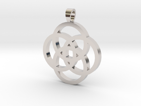 Rosette [pendant] in Rhodium Plated Brass