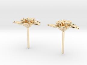 Columbine Flower Earrings in 14k Gold Plated Brass