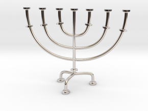 Menorah chandelier 1:12 scale model V2 in Rhodium Plated Brass