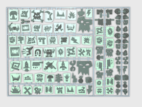 Orc Glyphs 1 - Flat Vehicle Insignia pack in Smooth Fine Detail Plastic