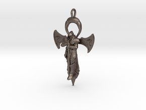 The Knights Ankh in Polished Bronzed Silver Steel