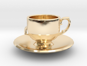 Tea Cup Pendant in 14k Gold Plated Brass