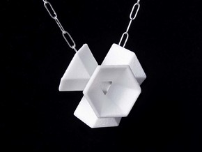 Hexagon Flower Pendant in White Processed Versatile Plastic