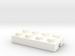 Adapter for Lego-Fischertechnik 4x2-1 in White Processed Versatile Plastic