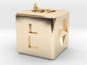 Smugglers Dice with loop in 14k Gold Plated Brass