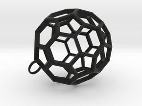 Buckyball Pendant in Black Natural Versatile Plastic