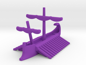 Carthaginian Trireme Stowed Sail Game Pieces in Purple Processed Versatile Plastic: Extra Small