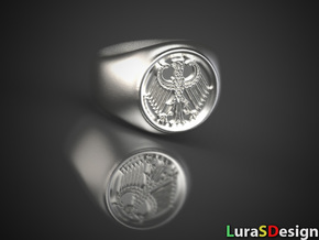 German Eagle Ring in Polished Bronzed Silver Steel