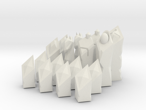 Low-Poly Chess Set in White Natural Versatile Plastic