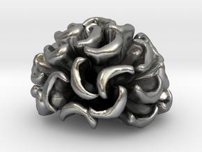 Pocillopora Meandrina Coral Pendant in Natural Silver: Small