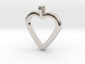 Classic Heart Pendant in Rhodium Plated Brass