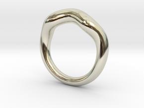 Waves Circle Ring in 14k White Gold: 4 / 46.5