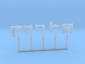 Miniature Axe Collection (without hand) in Smooth Fine Detail Plastic