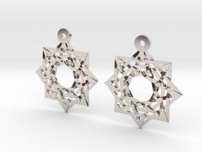 "8:8 Stargate 1+"" Earrings  in Rhodium Plated Brass"