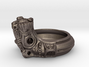 Jomon style ring in Polished Bronzed Silver Steel