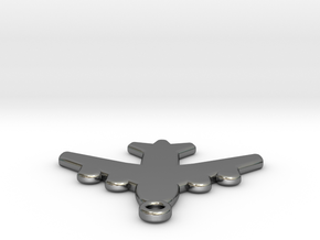 Flat Airplane Charm in Polished Silver