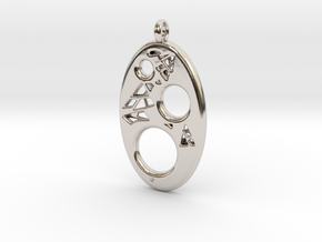 Oval Pendant 3 in Rhodium Plated Brass