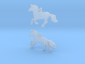 Horses earrings in Smooth Fine Detail Plastic: 28mm
