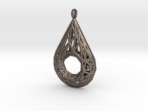 Drop Pendant 4 in Polished Bronzed Silver Steel