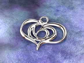 Floating heart in Polished Silver