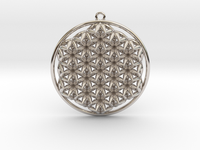 """Super Flower of Life (One Sided) 1.5"""" Pendant in Rhodium Plated Brass"""