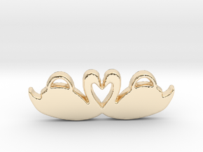 Swans Forming a Heart in 14k Gold Plated Brass