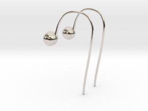 Hook Earrings in Rhodium Plated Brass
