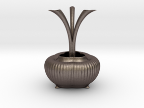 Vase 0439c in Polished Bronzed Silver Steel