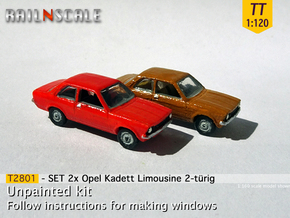SET 2x Opel Kadett Limousine (TT 1:120) in Smooth Fine Detail Plastic