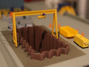 N Scale Gantry Crane H26 W38.5 in Smooth Fine Detail Plastic