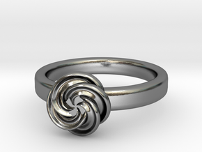 Pinweel Flower Ring in Polished Silver: 4 / 46.5