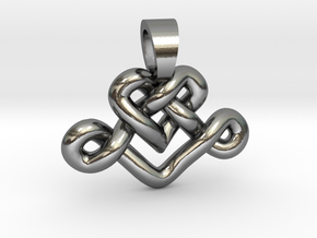 Heart knot [pendant] in Polished Silver