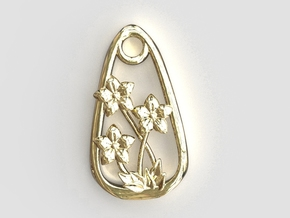 Balloon Flower Endless Love Pendant in Polished Brass