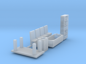 furniture scale 1/87 (8 pieces) in Smooth Fine Detail Plastic