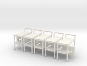 5 1:48 Tea Cart in White Natural Versatile Plastic
