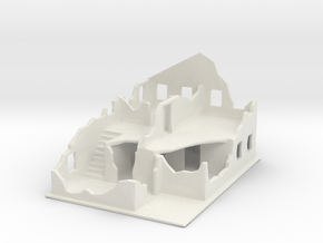 Bombed-out 2-floor building in White Natural Versatile Plastic