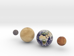 The 4 Rocky Worlds, 1:1 billion in Full Color Sandstone
