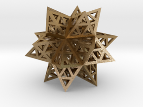 Stellated Triforce Icosahedron in Polished Gold Steel