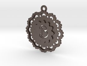 Magic Letter B Pendant in Polished Bronzed Silver Steel