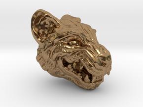 Oni-Tiger Miniature Decorative Noh Mask in Natural Brass: Small