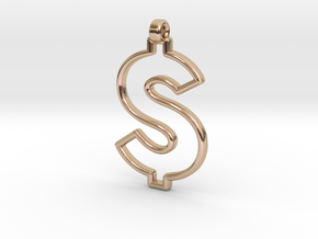 Dollar Symbol Pendant in 14k Rose Gold Plated Brass