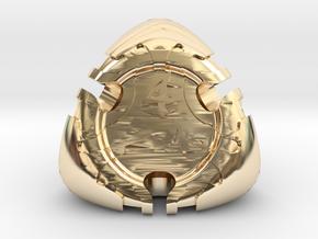 Art Nouveau Die4 in 14k Gold Plated Brass