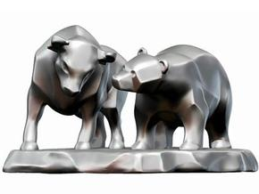 Bull And Bear Stock Exchange Sculpture in White Strong & Flexible