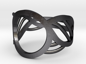 Triton Ring in Polished and Bronzed Black Steel: 10 / 61.5