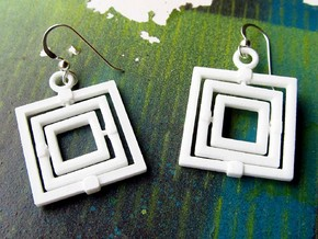 Square Gyroscope earings in White Processed Versatile Plastic